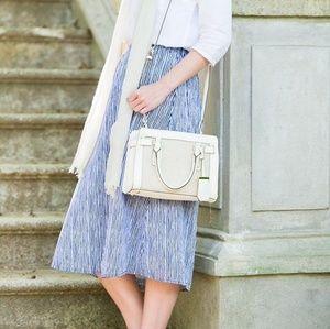 White + Blue Midi Skirt